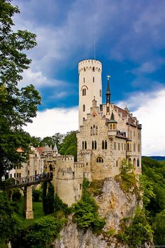 Lichtenstein Castle, Baden-Württemberg, Germany. The original castle was built around 1200 and destroyed during two wars in the 1300s. The current castle was built upon the ruins, 1840-42. by andreucccia