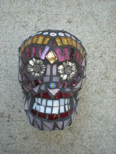 Dia De Los Muertos Mosaic Stained Glass Skull by MariposaMosaics, $80.00