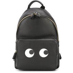 Anya Hindmarch Mini 'Eyes' Backpack ($1,450) ❤ liked on Polyvore featuring bags, backpacks, black, anya hindmarch, leather backpack, mini bag, miniature backpack and mini rucksack