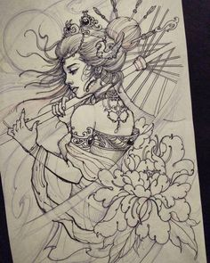 For today's client. #geisha #drawing #tattoo #chronicink #asianink #irezumi #asiantattoo