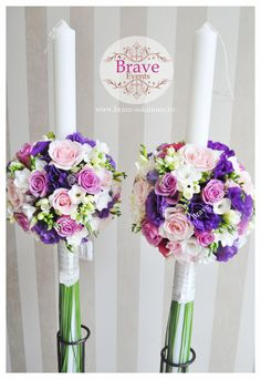 Brave Events - Lumanari de cununie pentru nunta si botez Purple Wedding, Our Wedding, Seashell Bouquet, Wedding Bouquets, Wedding Flowers, Groom And Groomsmen, Centerpieces, Candles, Weddings