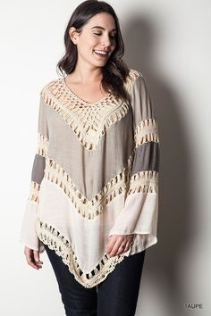 Multi Colored Crochet Top - Taupe - Curvy - Knitted Belle Boutique  - 1