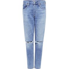 Citizens Of Humanity - LIYA HIGH RISE CROPPED JEANS ($268) ❤ liked on Polyvore featuring jeans, high waisted straight leg jeans, torn jeans, ripped jeans, destroyed jeans and cropped jeans