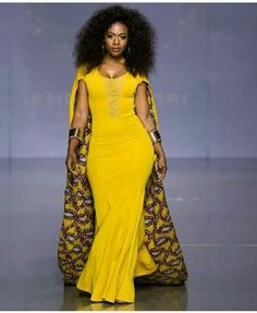 Robe de sirène imprimé africain avec cape robes par SleekLife