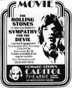 """June 1st 1970: Today in 1970, The Cap screened The Rolling Stones's film """"Sympathy For The Devil,"""" a time capsule to a musical masterpiece. That same day, Ronnie Wood would celebrate his birthday, and when the clock began to strike midnight, Charlie Watts would be a year older!"""