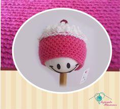 Modelo Nº 72: Cup Cake rosa, hermoso gorro en forma de panquesito, #cupcake #Crochet #bebe #baby #tejido #ganchillo