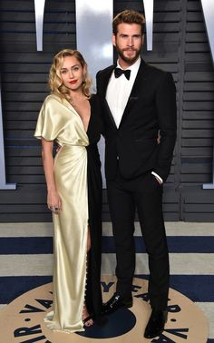 Oscars 2018 Afterparty Dresses and Preparty Dresses - Miley Cyrus in Prabal Gurung with Liam Hemsworth