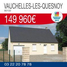 #ResidencesPicardes vous propose ce pavillon avec garage à VAUCHELLES-LES-QUESNOY (80132) pour 149 960€*. Renseignements par téléphone au 03.22.20.78.78