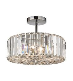 Clearview 3 Light Semi Flush in Polished Chrome with Cut Crystal Shade || ELK Lighting