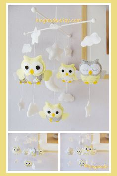 Baby Mobile - Owl Mobile - Nursery Mobile - Crib Mobile - Powder Yellow Gray White Soft Owls in moon stars clouds (Custom Color Available)