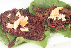 Beet Latkes with Horseradish and Smoked Fish