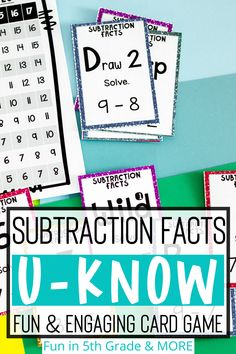 FREEBIE! This is a fun & engaging subtraction facts UKNOW game. This game will help your students learn their subtraction problems with an UNO type card game! Works great for math centers / stations, early finishers, or small group. Students will be begging to practice with this activity!