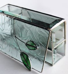 Stained Glass Beveled Jewelry Box  Handcrafted  Two by LAGlass, $68.00