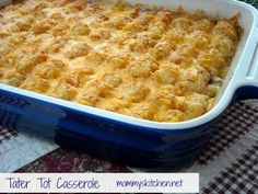Tater Tot Casserole  Ingredients:  1 1/2 - 2 lbs. ground beef or ground turkey 1/2 - onion, diced 1 - 32 oz package ore ida crispy crowns or tater tots  1 - 10 oz can cream of mushroom soup 1 - 8 oz container sour cream or light sour cream 1 - low fat cup milk 2 - cups grated cheddar cheese pepper, to taste season salt, to taste garlic salt, to taste
