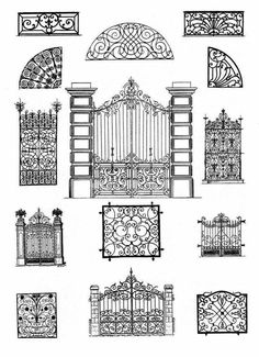 Laser cut screen or mylar divider ideas to frame & hang from the ceiling on chains, IKEA style.Top Amazing design ideas of wrought iron doorsForged Ironwork Door Patterns, try to paintWrought iron doors are indeed a style from the past. With creativity, y Metal Gates, Wrought Iron Doors, Tor Design, House Design, Iron Garden Gates, Door Gate Design, Iron Art, Steel Doors, Architecture Details
