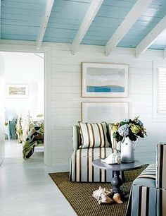 These two pins from House of Turquoise show how the whole cottage incorporates different shades of turquoise subtlety and tastefully throughout. House of Turquoise: Kathleen Hay Designs Hay Design, House, Home, Cottage Decor, Beach Cottage Style, House Interior, Blue Ceilings, Cottage Living, New England Homes