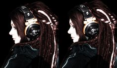 "from IronSpark on deviant art    This one isn't much about her hair style per se, but more about the ""delicate visage protected by helmet"" pattern created by the big hair and headphones."