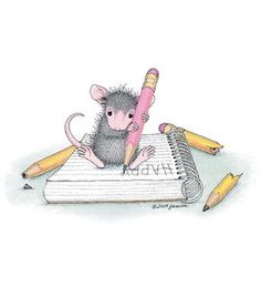Stampibilities House Mouse Rubber Stamp - Taking Notes