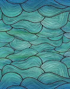 Abstract Blue Hand-drawn Pattern, Waves Background. Seamless ...