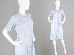 Vintage 40er Jahre Kleid blass blauen Kleid Haus von ZeusVintage