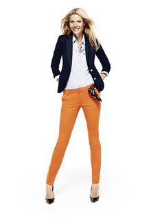 Mustard pants with a navy blazer.