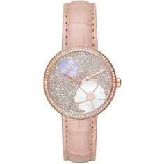 88663c66e Michael Kors Women s Courtney Stainless Steel Leather Strap Watch ( 188) ❤  liked on Polyvore