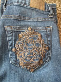 """Disney parks jeans size 6. Inseam is 30"""" These have been worn and washed. No fraying on bottom of pants. 