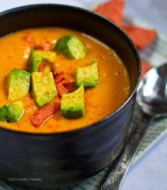 Sweet Potato Soup (in a Flash!) Avocado on top. Chipotle + Citrus. #vegan #soup