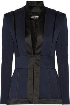 Balmain- Satin trimmed wool-crepe blazer