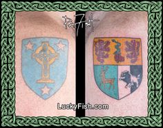 Mother's & Father's Family Crest Tattoos by Pat Fish Family Crest Tattoo, Tattoo For Son, Go It Alone, Celtic Tattoos, Tattoo Blog, Mother And Father, Fish Tattoos