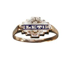 "1880. A very unusual Victorian memento mori ring with the Latin word ""Leti"" in white and blue enamel. Leti means ""death"", as in ""Vive Memor Leti,"" which translates to ""I live remembering death."""