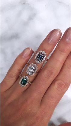Old European Cut Diamond Cocktail Ring Green Diamond /& Sapphire Ring Art deco RingOctagon Shape Double Halo Ring Wedding Engagement Ring
