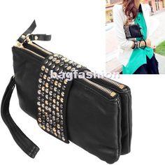 Оптовые Обзор продукта Название продукта является корейский стиль Кожа PU моды дизайнер сумки Lady заклепки бумажник сцепления кошелек сумочка груза падения 4004