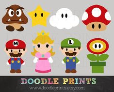 Mario Bros Clipart - Digital Clip Art Printable - Super Mario Clipart Design - Mario, Luigy, Peach, etc Digital Images - Personal Use Only