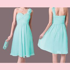 Aqua Bridesmaid Dress  Aqua Short Dress Chiffon by Prettyobession, $75.00