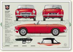 MGB Roadster 1962-65 classic sports car portrait print