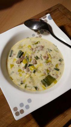 Käse-Lauch-Suppe mit Hackfleisch Low Carb; Logi