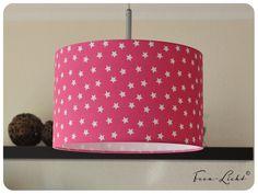 Lampenschirme - Pendelleuchte / Lampenschirm pink / Sterne weiß - ein Designerstück von Hilgemann bei DaWanda