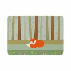"Cristina bianco Design ""Sleeping Fox"" Green Illustration Memory Foam Bath Mat"