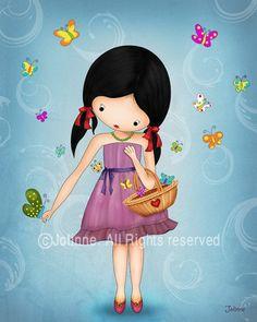 Nursery baby decor , girls room art, kids art print, turqoise room decor, butterflies, children art. $16.00