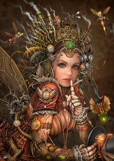 Silence Please - Steampunk Fairy by DarkAkelarre - great work http://www.randallchambers.com
