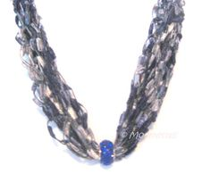 Retro Style Beaded Boho Chic Necklace Cobalt by MoomettesCrochet, $16.00