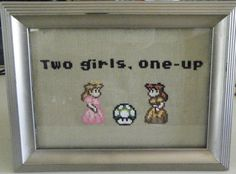 Mario Princesses with mushroom crossstitch by DarkQueenMarcelyne