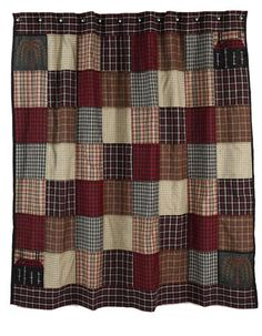 "Ashfield Shower Curtain -  Shower curtain measures 72x72"" and features patchwork blocks with top and bottom plaid border. Saltbox motif and willow tree applique in corner blocks. Reverse has all seams finished for a clean look. Metal grommets for shower curtain hooks at top."