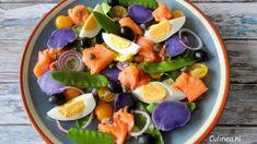 Niçoise salade met gekonfijte zalm en truffelaardappelen