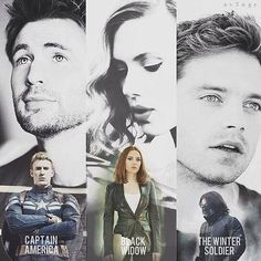 Captain America/ Steve Evans. Black Widow/ Scarlett Johansson. The Winter Soldier/ Sebastian Stan