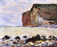 'Cliffs of Les Petites-Dalles', Oil by Claude Monet (1840-1926, France)