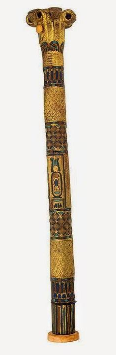 Egyptian Museum - Gilded Pen Holder - IVORY, CARNELIAN, OBSIDIAN, WOOD & GLASS Height (cm) : 32 18TH DYNASTY: TUTANKHAMUN
