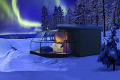 Spend the Night in Luxury Glass Igloos Looking Up at the Northern Lights - Fiona Matley - Spend the Night in Luxury Glass Igloos Looking Up at the Northern Lights glass igloo in finland to watch the northern lights aurora borealis - Honeymoon Spots, Romantic Honeymoon, Vacation Spots, Dream Vacations, Honeymoon Ideas, Romantic Getaways, Aurora Borealis, Un Igloo, Arctic Landscape
