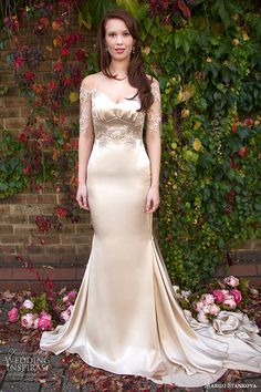 margo stankova 2015 bridal wedding dresses illusion half sleeves oyster gold sweetheart neckline beaded lace sheath wedding gown mairei